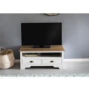 Lowboard Mayla B: ca. 100 cm - Weiß/Kieferfarben, ROMANTIK / LANDHAUS, Holz (100/45/45cm) - MID.YOU