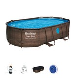Power Steel Pool Set Schwim Vista Serie, Sandfilter - Braun, MODERN, Kunststoff/Metall (488/305/107cm) - Bestway