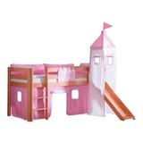 Spielbett Alex 90x200 cm Buche - Rosa/Weiß, Design, Holz/Textil (90/200cm)