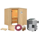 Sauna Nizza mit externer Steuerung - Naturfarben, MODERN, Holz (196/198/196cm) - Karibu