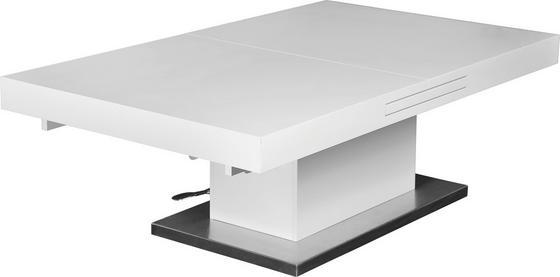 Konferenční Stolek 2in1 - bílá/barvy nerez oceli, Moderní, kov/dřevěný materiál (133/170/47,5/75/80cm)