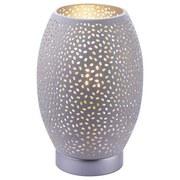 Tischlampe Narri Weiß/Silber Gelocht - Silberfarben/Weiß, Basics, Metall (15/23cm)