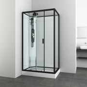 Duschkabine Epic 3 - Schwarz, MODERN, Glas/Metall (120/80/225cm) - Sanotechnik