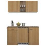 Küchenblock Nano 150cm Buche - Edelstahlfarben/Buchefarben, MODERN, Holzwerkstoff (150/60cm)