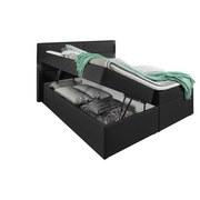 Boxspringbett mit Bettkasten 180x200cm Mercura, Anthrazit - Anthrazit, MODERN, Holzwerkstoff/Textil (195/115/220cm)
