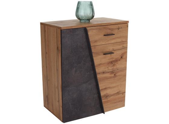 Komoda Venedig - barvy dubu/tmavě šedá, Moderní, kompozitní dřevo (80/92/35cm)