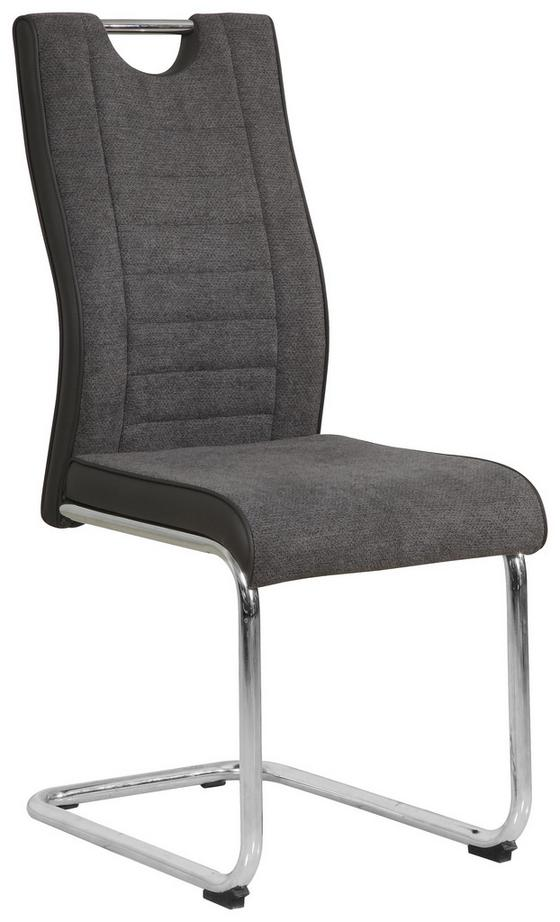 Schwingstuhl Jami - Chromfarben/Grau, KONVENTIONELL, Textil/Metall (44/97.5/55cm)