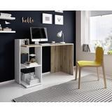 Schreibtisch mit Ablagefächer B 120cm Paco, Eiche/Weiß - Eichefarben/Weiß, Basics, Holzwerkstoff (120/87,5/51,6cm)