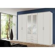 Drehtürenschrank mit Spiegel 270cm Ben, Weiß Dekor - Weiß, KONVENTIONELL, Glas/Holzwerkstoff (270/210/58cm) - Carryhome