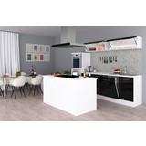 Einbauküche Premium B: 280 cm Schwarz Hgl - Schwarz/Weiß, MODERN, Holzwerkstoff (280/200/270cm) - MID.YOU