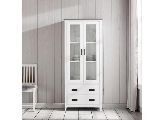 Vitrína Liana - šedá/bílá, Moderní, kov/dřevo (76/180/36,5cm) - Mömax modern living
