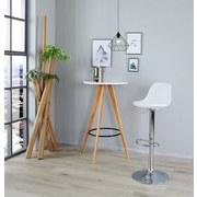 Barhocker Scandi B: 41,5 cm Weiß - Chromfarben/Weiß, MODERN, Kunststoff/Textil (41,5/84-104/37,5cm) - MID.YOU