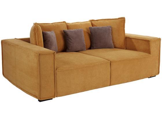 Veľká Pohovka Surf - sivohnedá/žltá, Moderný, drevo/textil (244/62/117cm)