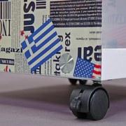 Couchtisch mit Ablagefach + Rollen Flagcube, Weiß/Mix - Blau/Rot, Basics, Glas/Holzwerkstoff (38/46/33,50cm) - Livetastic
