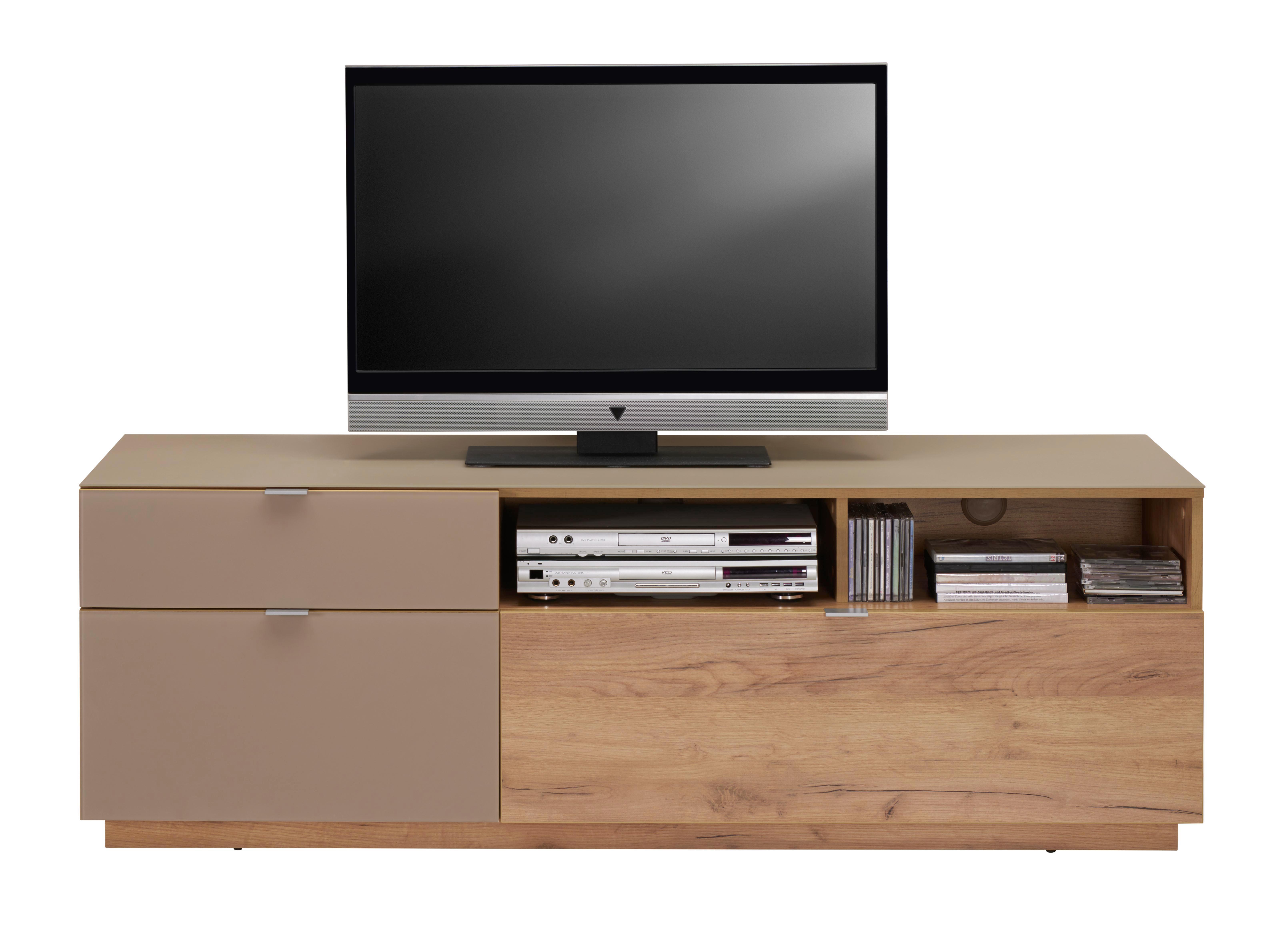Tv - Elem Contur - tölgy színű, modern, üveg/faanyagok (160/54/52cm)