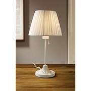 Tischlampe Lana Weiß mit Textil-Schirm U. Zugschalter - Weiß, ROMANTIK / LANDHAUS, Kunststoff/Textil (44cm) - James Wood