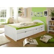 Stauraumbett Echtholz Massiv 90x200 Erna, Weiß - Weiß, Basics, Holz (90/200cm) - Livetastic