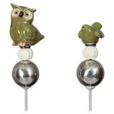 Gartenstecker Eule oder Vogel - Naturfarben/Grün, MODERN, Keramik/Metall (7/4,5/90cm)