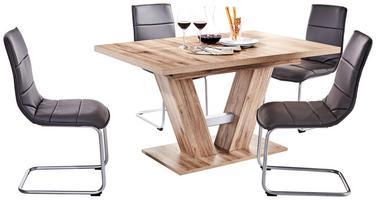 Esstisch in Holzoptik kombiniert mit Freischwingern