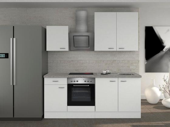Küchenblock wito 210 cm weiß edelstahlfarben weiß modern holzwerkstoff 210