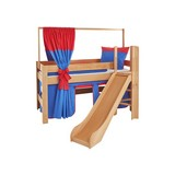Spielbett Leo 90x200 cm Buche Massiv - Rot/Dunkelblau, Design, Holz/Textil (90/200cm)