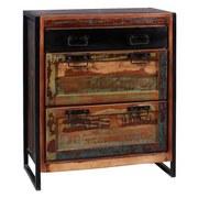 Schuhschrank Faro B: 80 cm Recyclingholz - Multicolor/Schwarz, Basics, Holz/Metall (80/96/40cm) - MID.YOU