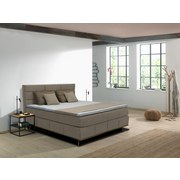 Boxspringbett Lasse 200x200 cm Beige - Eichefarben/Beige, MODERN, Textil (200/200cm) - Carryhome