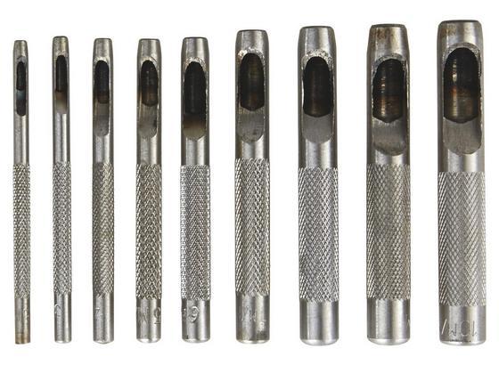 Locheisensatz 9-teilig - Silberfarben, KONVENTIONELL, Metall