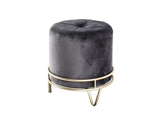 Hocker Stool D: ca. 38 cm Samt Grau - Goldfarben/Grau, Basics, Holzwerkstoff/Textil (38/40cm)