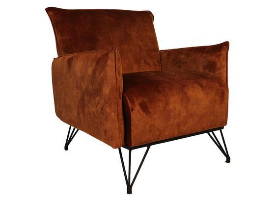 Sessel Mika Luxuryb:72cm Kupferfarben - Schwarz/Kupferfarben, Design, Textil (72/85/77cm) - Livetastic
