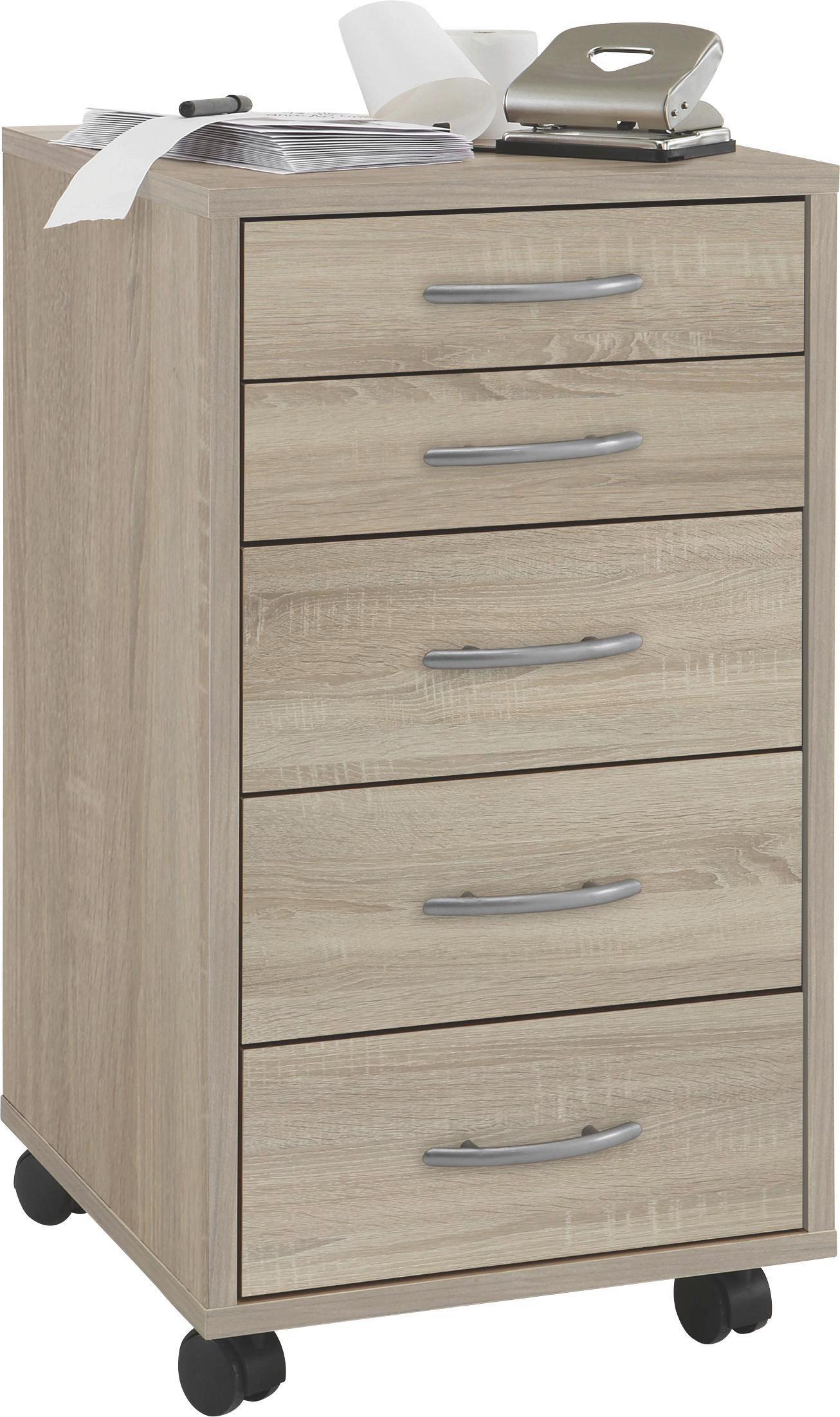 Kontajnér Na Kolieskach Freddy - farby dubu/slivkové farby, Moderný, umelá hmota/drevo (33/63,5/38cm)