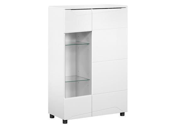 Highboard Newport B:78cm Weiß Hochglanz Dekor/ Glas - Weiß, MODERN, Holzwerkstoff (78/125/39cm)