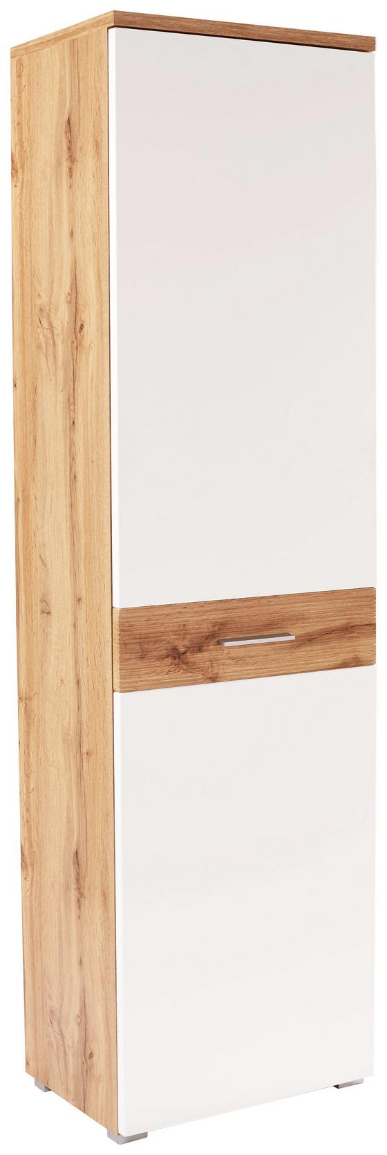 Šatní Skříň Space New - bílá/barvy dubu, Moderní, kompozitní dřevo (55/199/35cm)