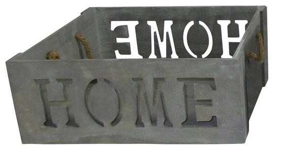 Kiste Home - Grau, Holzwerkstoff (38/15/28cm) - James Wood