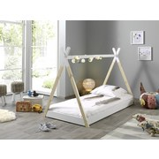 Hausbett Tipi 90x200 cm Weiß - Weiß/Kieferfarben, MODERN, Holz/Holzwerkstoff (90/200cm) - MID.YOU