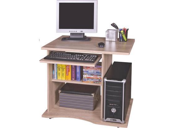 Schreibtisch mit Stauraum + Tastaturauszug B 78cm Olin - Eichefarben, MODERN, Holz (78/75/50cm)