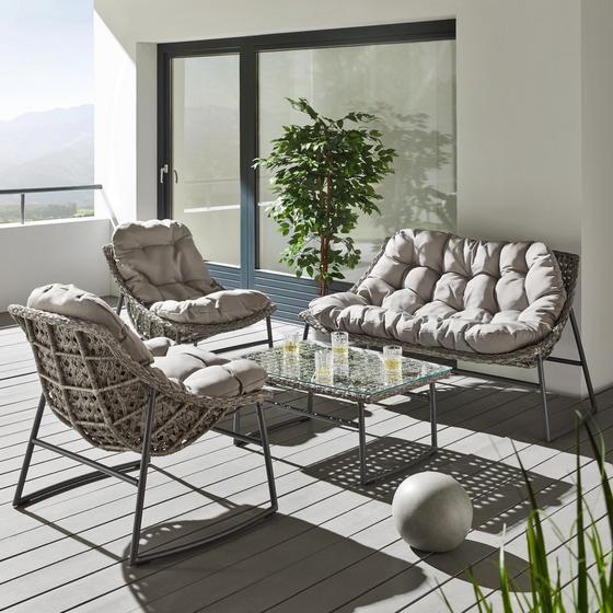 Záhradná Súprava Cathy - sivá, Moderný, umelá hmota/kov - Mömax modern living