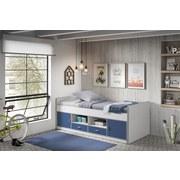 Kinder- & Jugend-Stauraumbett 90x200 Bonny, Weiß/Blau - Blau/Weiß, Basics, Holzwerkstoff (90/200cm) - Livetastic
