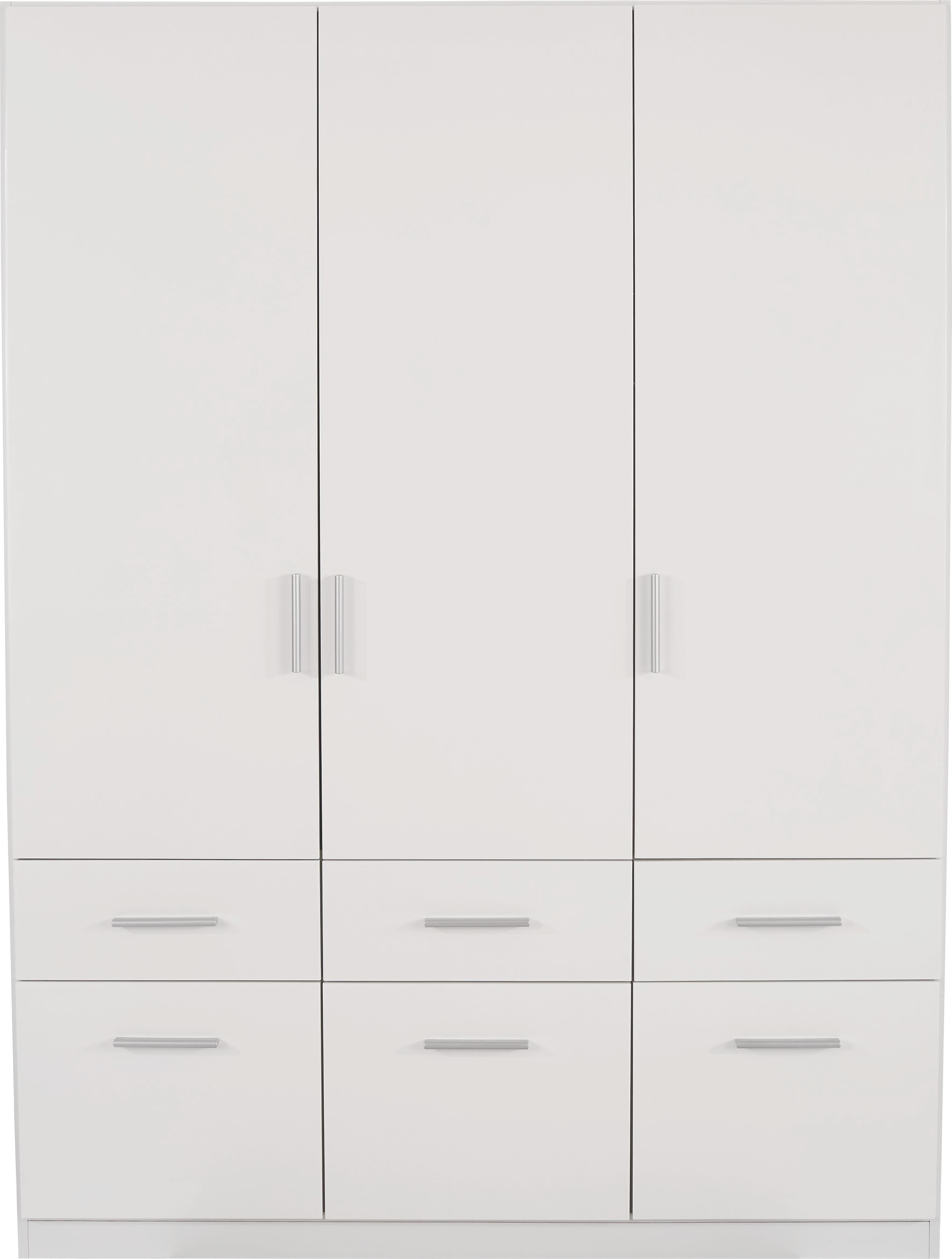Kleiderschrank Celle, 3 Türig   Weiß, MODERN, Holz (136/197