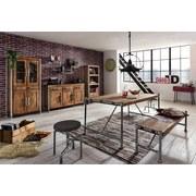 Wandboard Castelo B: 132 cm Echtholz - Silberfarben/Naturfarben, Basics, Holz/Metall (132/50/25cm)
