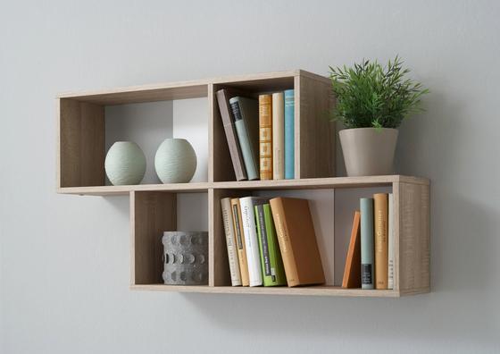 Nástěnný Regál Nora - bílá/barvy dubu, Moderní, dřevěný materiál (100/53/19,5cm)