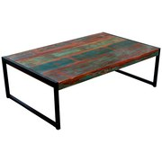 Couchtisch Faro B: 115 cm Recyclingholz - Multicolor/Schwarz, Basics, Holz/Metall (115/35/70cm)
