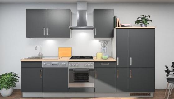 Küchenblock Nora 310 cm Weiß/Schwarz - Eichefarben/Schwarz, MODERN, Holzwerkstoff (310cm)