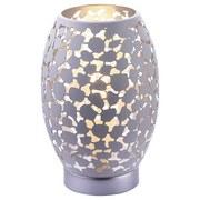 Tischlampe Narri Weiß/Silber mit Blättermuster - Silberfarben/Weiß, Basics, Metall (15/23cm)