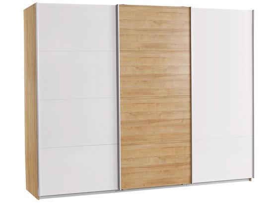 Schwebetürenschrank Leoben B:271cm Eiche/ Grey Dekor - Eichefarben/Grau, MODERN, Holzwerkstoff (271/210/62cm) - Ombra