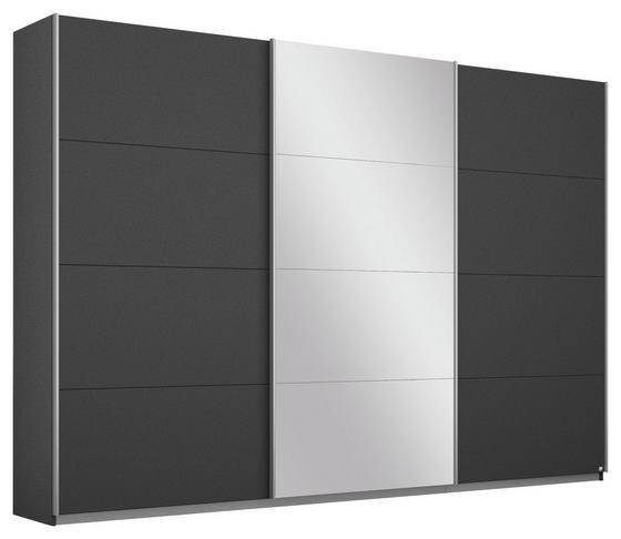 Schwebetürenschrank Belluno 271 cm Grau/spiegel - Dunkelgrau, MODERN, Holzwerkstoff (271/210/62cm)