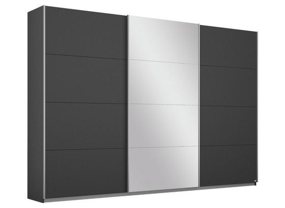 Schwebetürenschrank mit Spiegel 271cm Belluno, Grau Dekor - Dunkelgrau, MODERN, Holzwerkstoff (271/210/62cm)