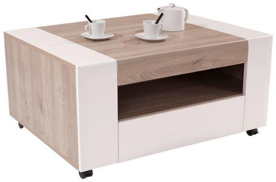 Dohányzóasztal Toronto - Tölgyfa/Fehér, modern, Faalapú anyag (110/48,3/75cm) - OMBRA