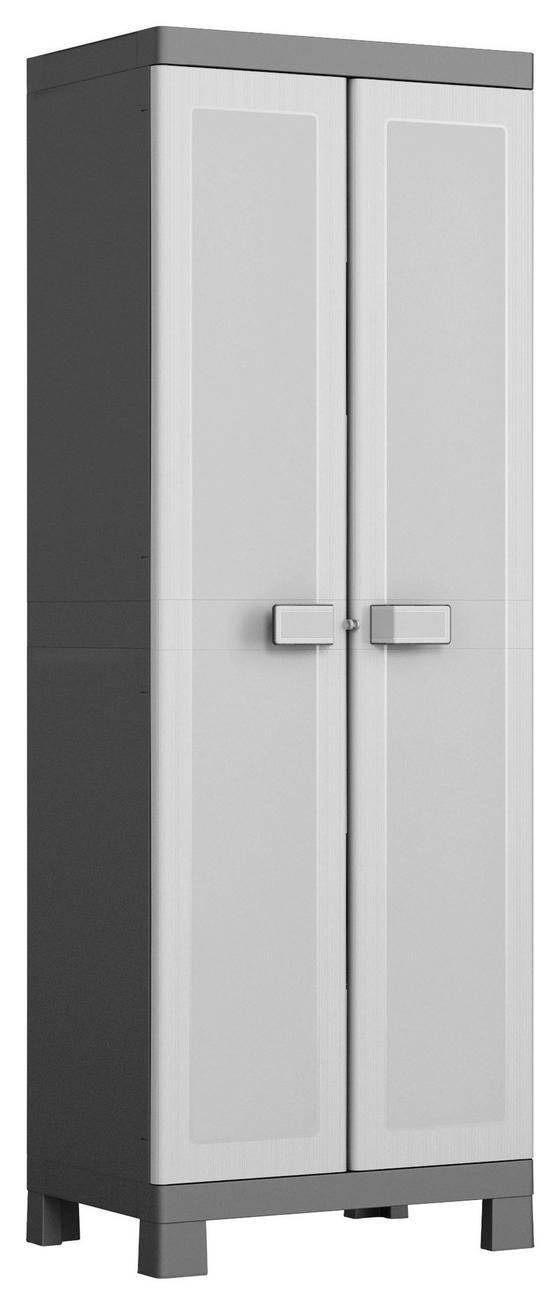 Geräteschrank Kunststoff Logico Hoch - Hellgrau/Schwarz, KONVENTIONELL, Kunststoff (65/182/45cm) - Keter