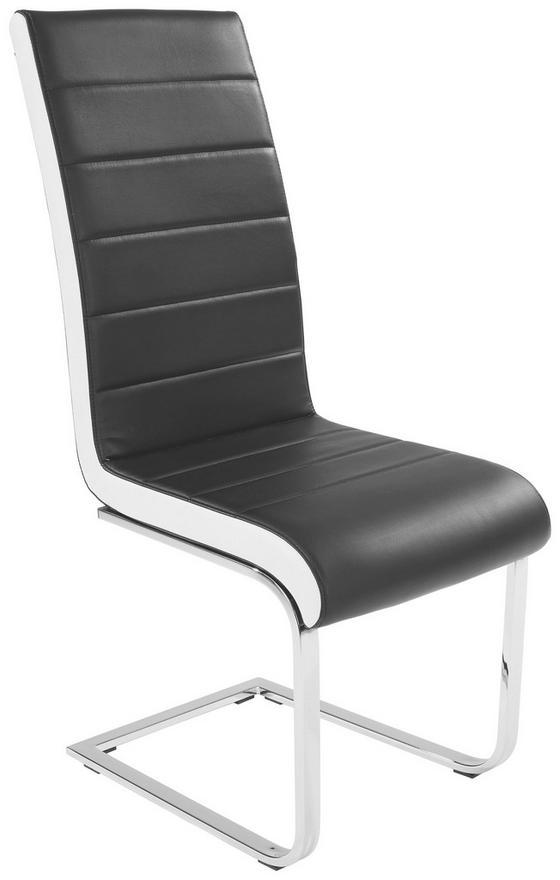 Szánkótalpas Szék Alex - Fehér/Fekete, konvencionális, Fém/Textil (43/103/55cm)